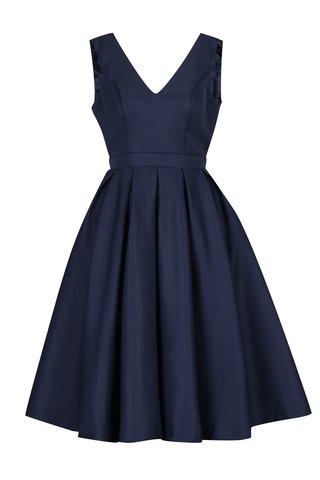 Rochie bleumarin cu decolteu amplu si pliseuri Chi Chi London Zara