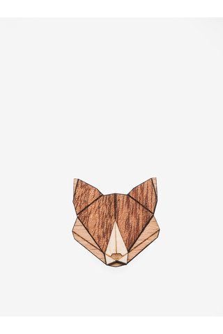 Brosa din lemn in forma de vulpe - BeWooden Fox Brooch