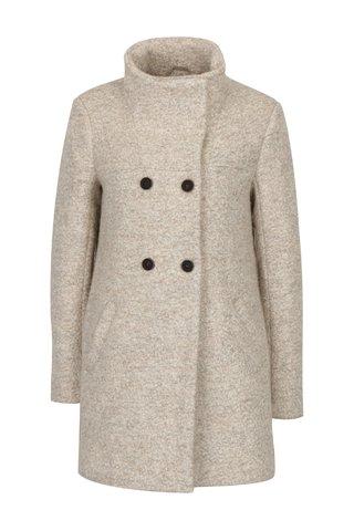 Palton crem melanj cu guler inalt din amestec de lana ONLY New Sophia
