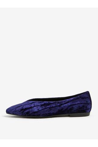 Balerini albastri din catifea cu varf ascutit - Vagabond Katlin