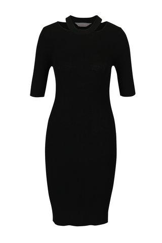 Rochie - pulover neagra pe corp cu decupaje in zona decolteului -  Dorothy Perkins Petite