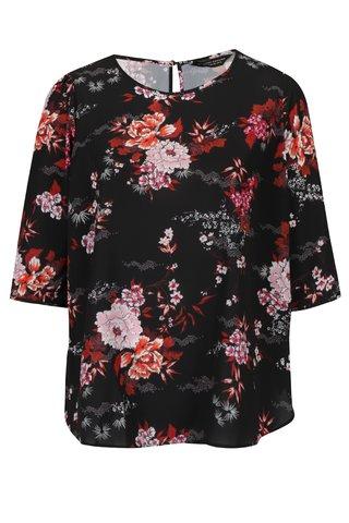 Bluza neagra lejera cu print floral Dorothy Perkins Curve