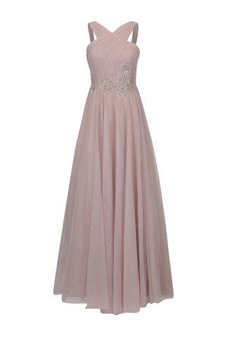Rochie maxi roz prafuit cu aplicatie decorativa in talie Little Mistress