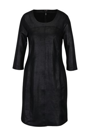 Rochie neagra cu maneci 3/4 si aspect de piele - Yest