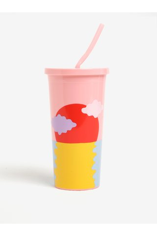Pahar cu pai roz si print - ban.do Happy hour 590 ml