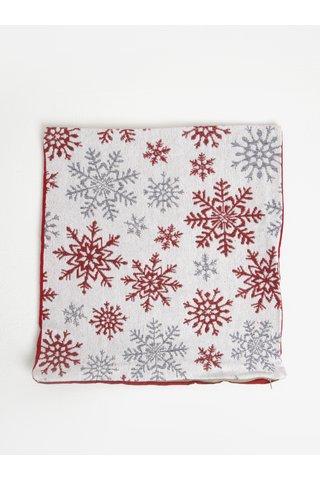 Červeno-bílý povlak na polštář s motivem vloček Dakls