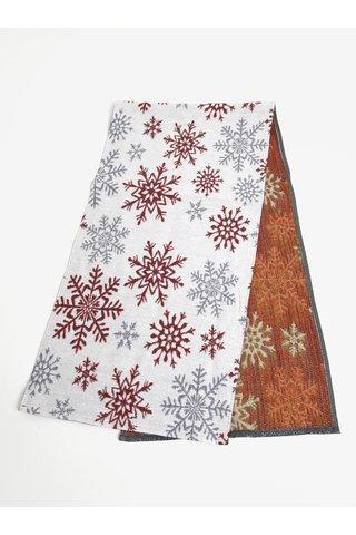 Bílo-červený běhoun s motivem sněhových vloček Dakls
