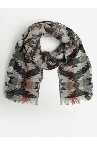 Fular gri&negru cu model aztec si carouri Pieces Sandie