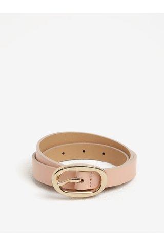 Curea roz cu catarama ovala din piele de bovina Pieces Ana