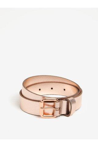 Curea roz cu aspect metalic din piele naturala Pieces Alina