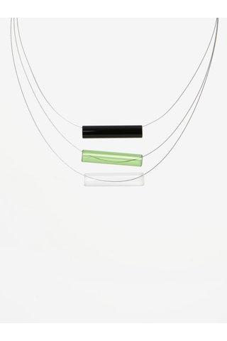 Colier handmade cu pandantive tubulare verzi din sticla -  KO-RA-LE Tri