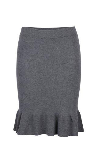 Šedá svetrová sukně s volánem VILA Olivina
