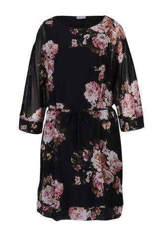 Černé volné květované šaty VILA Olisi