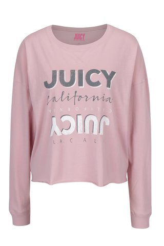 Bluza roz cu print text si tiv nefinisat Juicy Couture