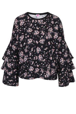 Pulover negru cu print floral si maneci cu volane Juicy Couture