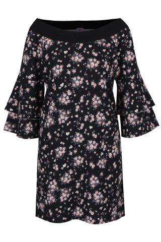 Rochie neagra cu print floral si maneci duble clopot  Juicy Couture