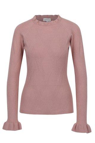 Pulover tricotat roz cu guler ondulat - Apricot