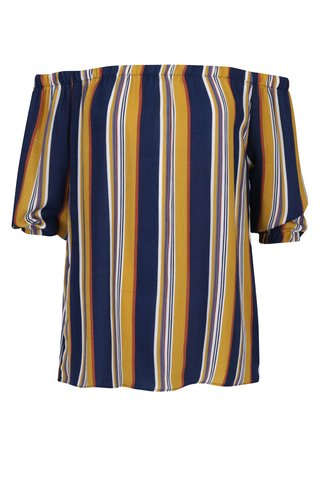 Bluza cu dungi albastru & galben si decolteu amplu pe umeri - Apricot