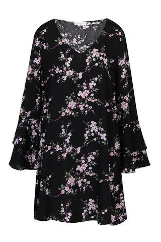 Rochie neagra cu print floral si decolteu anchior - Apricot