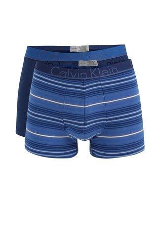 Set de 2 perechi de boxeri albastri cu banda elastica si logo - Calvin Klein