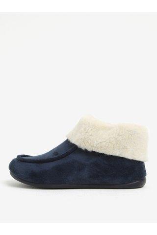 Papuci de casa bleumarin cu blanita artificiala pentru femei - OJJU
