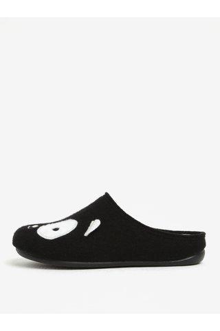Papuci de casa negri koala cu brant moale pentru femei - OJJU