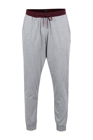 Pantaloni sport gri melanj cu buzunare si talie ajustabila - JP 1880
