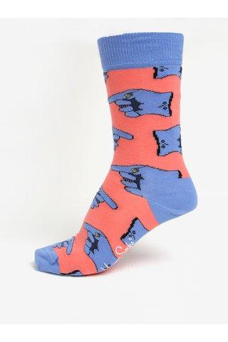 Sosete roz & albastru cu print pentru femei - Happy Socks Glove