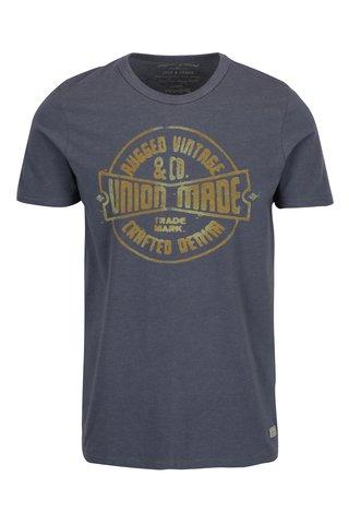 Tricou gri&galben cu print text Jack & Jones Vintage Recycle Adam