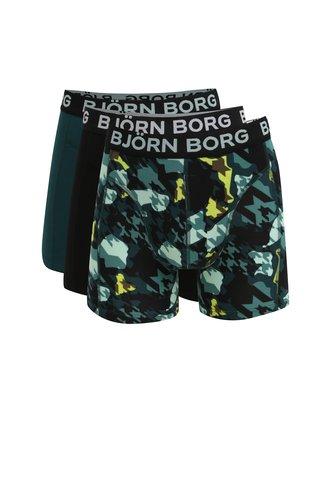 Sada tří boxerek v černé a zelené barvě se vzorem Björn Borg