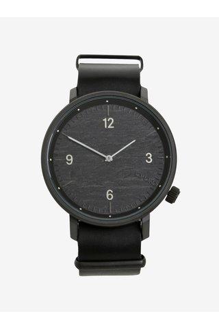 Ceas negru cu curea din piele naturala pentru barbati - Komono Magnnus