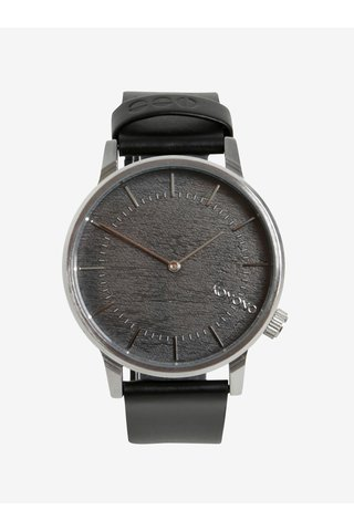 Ceas argintiu cu curea neagra din piele naturala pentru barbati - Komono Winston
