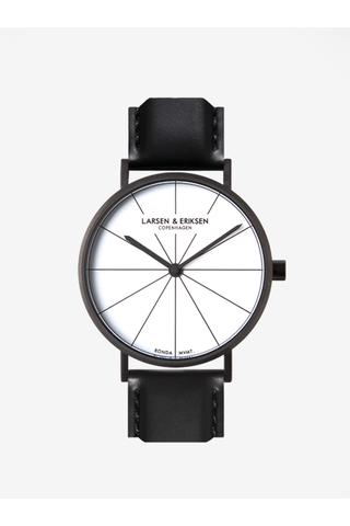 Černé unisex hodinky s černým koženým páskem LARSEN & ERIKSEN 41 mm