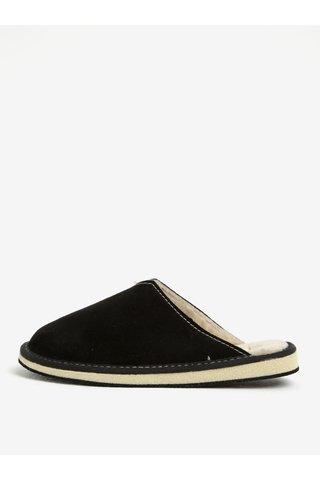 Papuci negri de casa din piele intoarsa pentru femei - OJJU