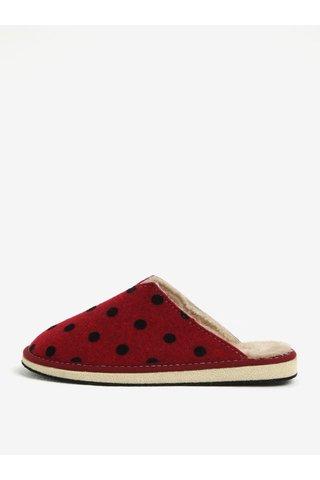 Papuci rosii de casa cu buline pentru femei - OJJU