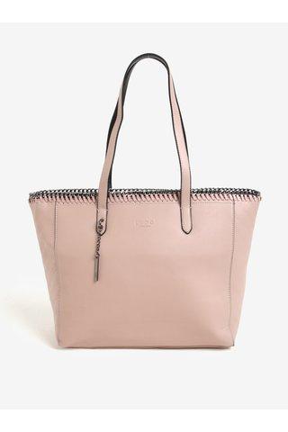 Růžová velká kabelka s ozdobnou kovovou aplikací LYDC