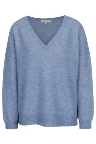 Pulover albastru melanj din amestec de lana - Selected Femme Livana