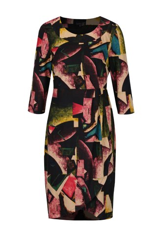 Rochie dreapta neagra cu print abstract si maneci 3/4 Smashed Lemon