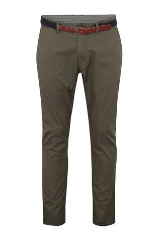 Pantaloni chino kaki slim fit cu curea - Selected Homme Yard
