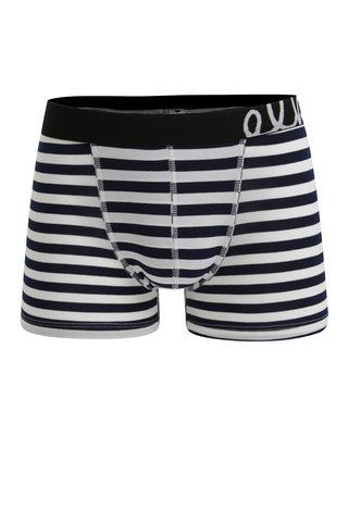 Boxeri cu dungi bleumarin & alb pentru barbati - El.Ka Underwear
