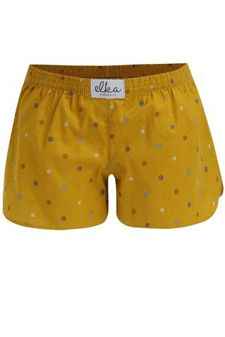 Hořčicové dámské puntíkované trenky El.Ka Underwear