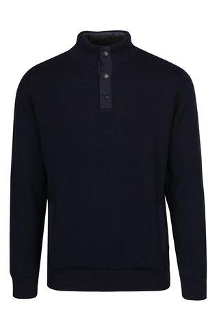 Pulover bleumarin cu captuseala din amestec de lana Barbour Spate