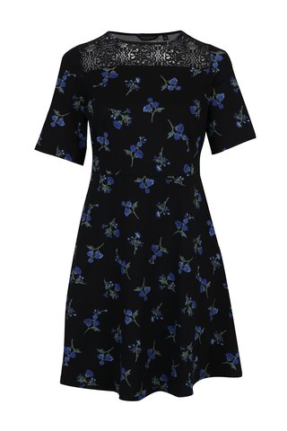 Rochie neagra cu print floral si dantela Dorothy Perkins Curve