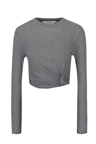 Bluza crop negru&alb in dungi cu nod decorativ  Miss Selfridge Petites