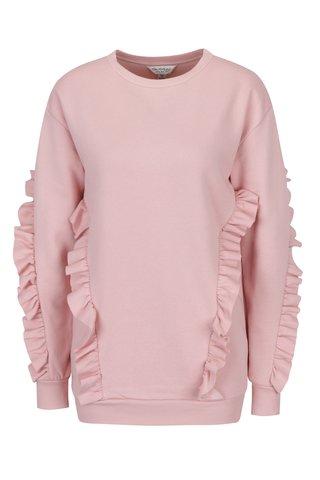 Bluza roz pal cu volane Miss Selfridge