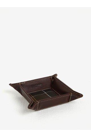 Hnědý pánský kožený cestovní tácek na drobnosti Barbour Tartan