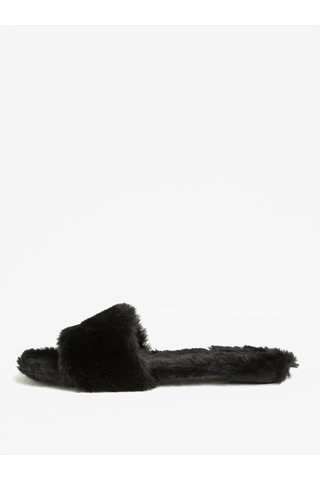 Papuci negri de blana artificiala -  ALDO Fofa