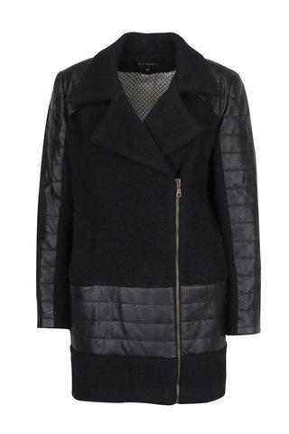 Černý zimní vlněný kabát Kvinna
