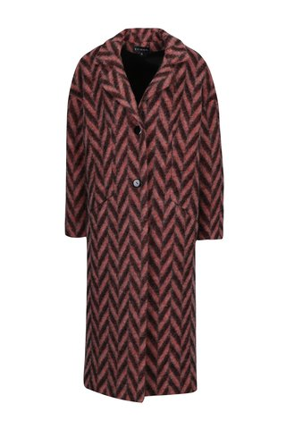 Černo-růžový vzorovaný zimní vlněný kabát Kvinna
