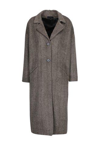 Šedo-béžový vzorovaný vlněný kabát s podšívkou s příměsí hedvábí Kvinna